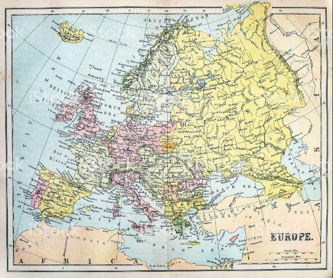 Europa-Karte aus dem 19. Jahrhundert