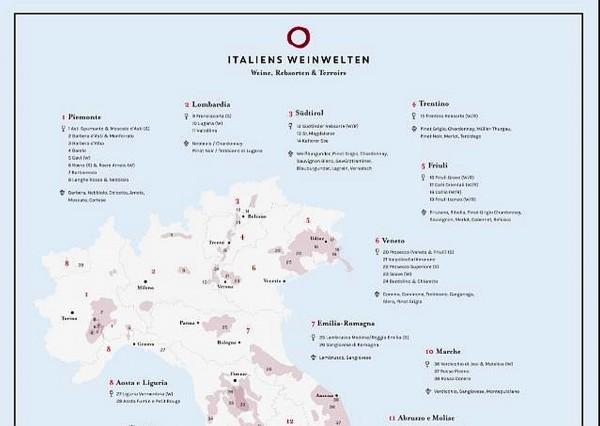 Italiens Weinregionen Poster A1